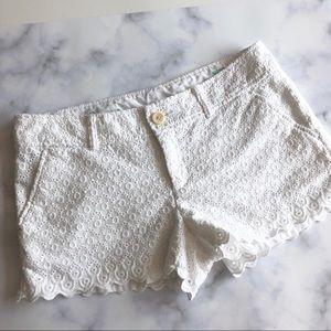 Lilly Pulitzer White Eyelet Walsh Shorts